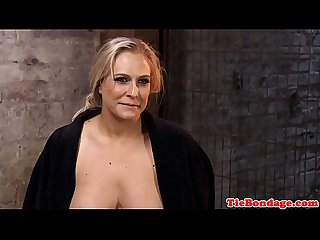 Busty blonde bdsm sub spanked and toyed