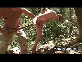 Tied up gay asshol fucked in woods