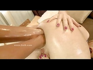 Impolite lady in dildo and fisting sex