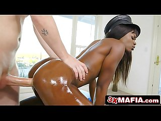 Ebony Stripper Ana Foxx Ends Up in the Wrong House in a Cop Uniform