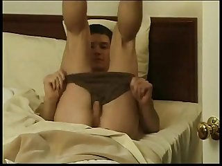 Horny Twink jerks cock from the back