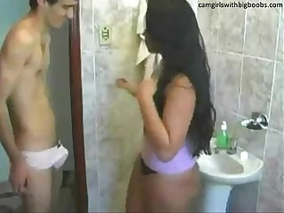 Step brother sister live Sex on bathroom found them on camgirlswithbigboobs period com
