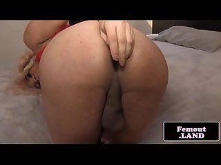 Ebony femboy spreads booty and jerksoff solo