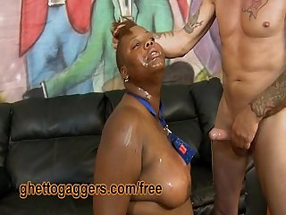 Big Black Broad Degraded By Two White Guys