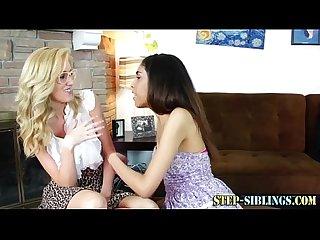Lesbian step sisters kissing