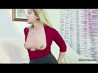 He caught step mom masturbate and seduce her to fuck