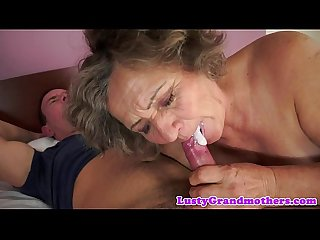 Chubby grandma orally pleasured