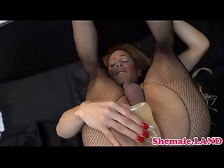 Ts mature stroking her throbbing dick