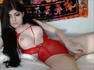 Beautiful Shemale Cums for her Fans
