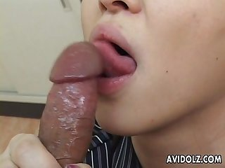 Precious Asian slut is sucking off a fat dick in pov