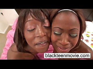 Two cute ebony teens in threesome