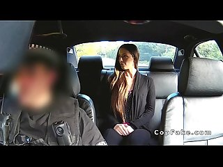Sexy amateur babe bangs fake cop off the road
