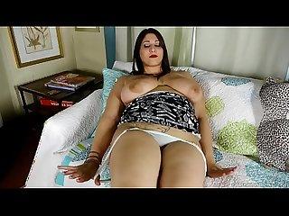 Busty BBW brunette babe fucks her juicy fat pussy