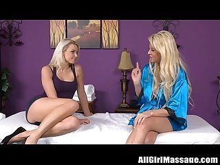 Beautiful blonde babes lesbian massage