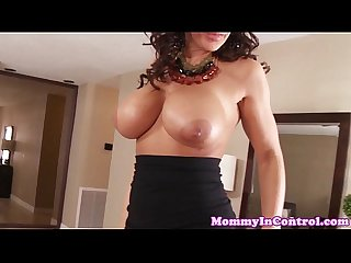 Bigtitted cougar milf cockriding in threesome