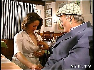 French brunette fucked in threesome in A restaurant with papy voyeur