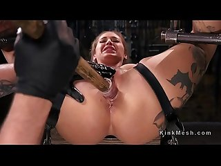 Blonde in strict device bondage gets toyed