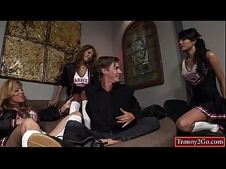 Shemales johanna B jamie page and jessica fox make guy suck