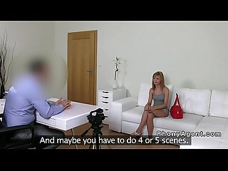 Nice booty blonde amateur banged on casting