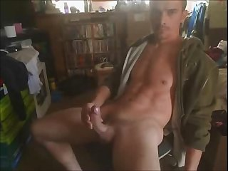 Man jerking his rock hard cock