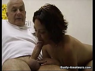 Busty Drew sucking old man's cock