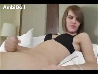 Pretty white tranny slut stroking on cam