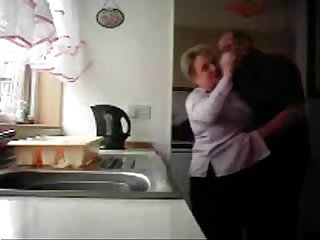 Mum and dad home alones having fun in the kitchen hidden cam