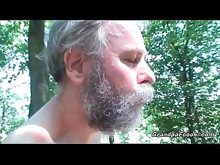 Sexy babe meets old dude in the woods