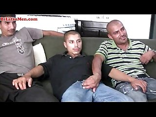 Hot 3some with hot bi latin men with big uncut cocks
