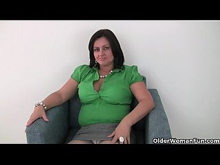 British mom Abigale in white panties and pantyhose masturbates