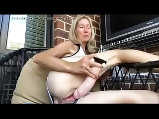 Sexy hot milf rectj from hotpornocams period com masturbate on balcony