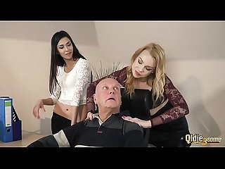 Old manager at the office fucks his two beautiful assistants right in his office he puts his cock in