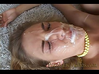 Gangbang with blonde slut licking and sucking cocks facial cumshot