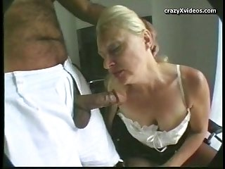 Blond granny takes it up the ass