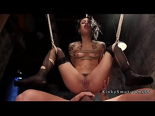Petite slave in suspension anal fucks