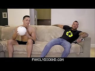 Hunk Step Dad With Big Muscles And Tattoos Fucked By Step Dad On Family Couch