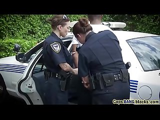 Dirty mouth plump blonde police cops abused big black cock traffic violator