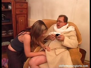 Natalli fucking an ugly old man - Coffee for the exhibitionist