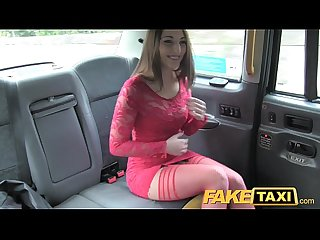 Fake taxi hot teen in red dress and stockings