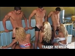 Blonde tranny gets her first hardcore gangbang