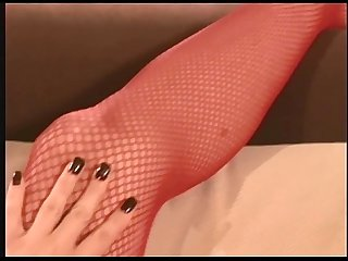Jayna fucking in red fishnet stockings and heels