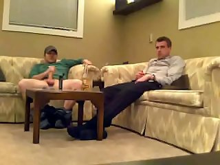 Straight guys jerk and cum together Spy cam