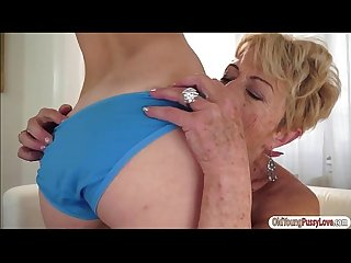 Blonde cutie Lilla eat granny Malyas old hairy pussy and ass