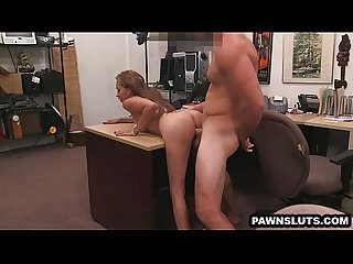 Inked babe gets fucked and cummed on at the pawn shop