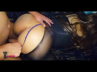 Gorgeous brunette in stockings and lingerie gets fucked her Cousin