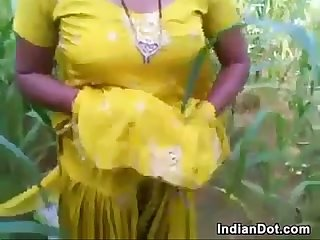 Indian flashing her privates outdoors