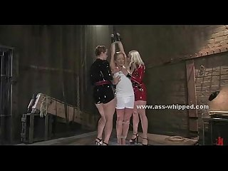 Lesbo mistresses have fun torturing