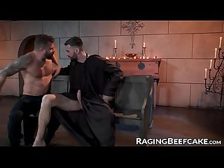 Handsome guy anally fucked by bearded priest after confession