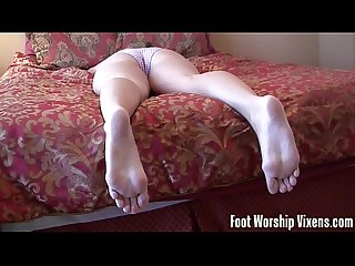 Cherry sneaks in and worships lady S feet