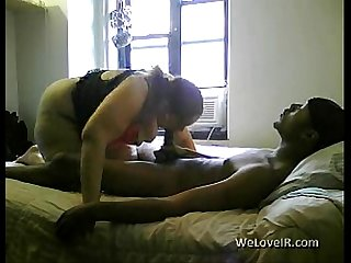 Thick white chick fucks skinny black boy
